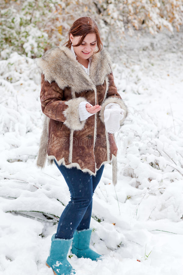 Download Young Woman Having Fun With Snow On Winter Day Stock Image - Image: 27365607
