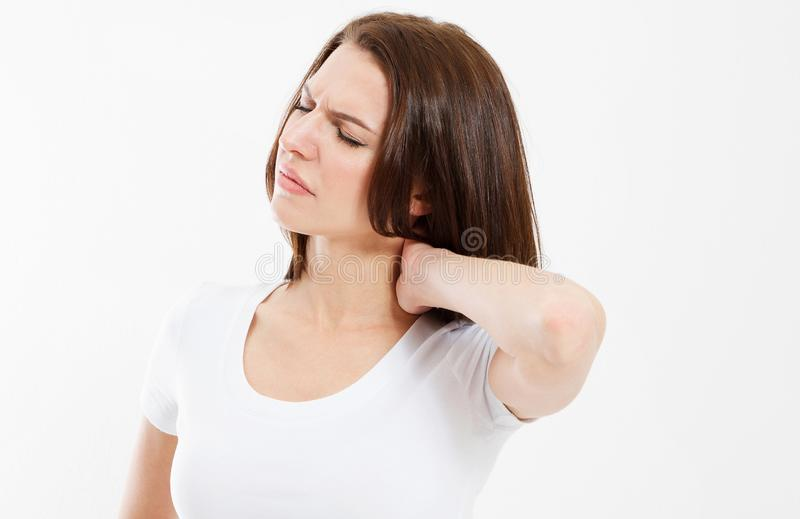 Young woman having pain in the back and neck - Pain in the front royalty free stock image