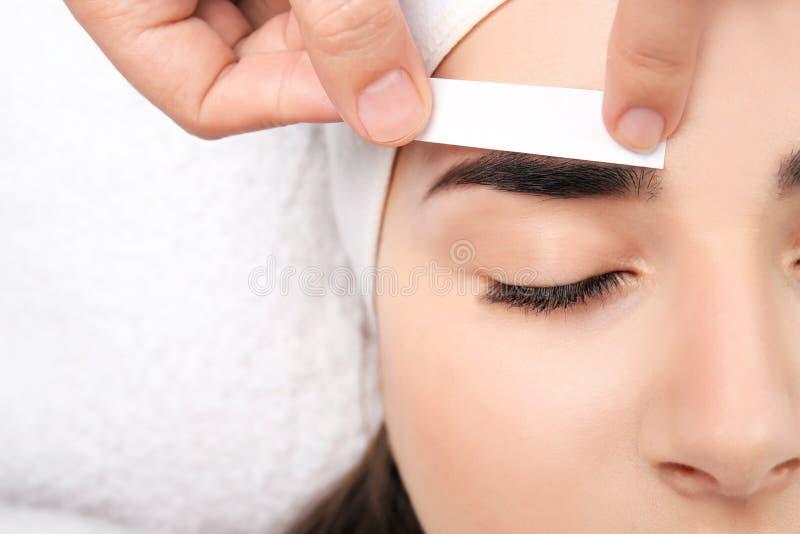 Young woman having professional eyebrow correction. Procedure, closeup stock images