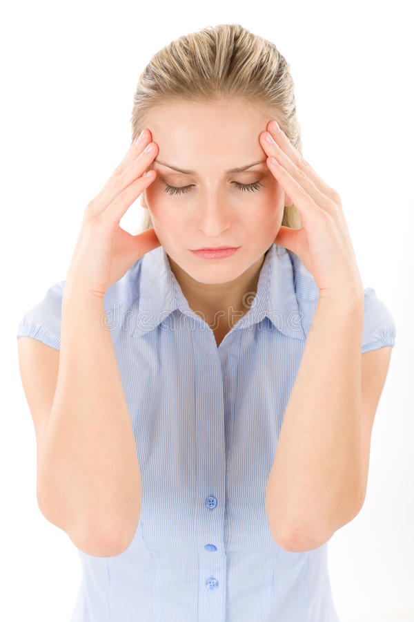 Young woman with headache, migraine royalty free stock photography
