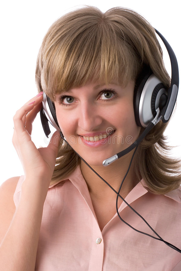 Young woman with headset stock image
