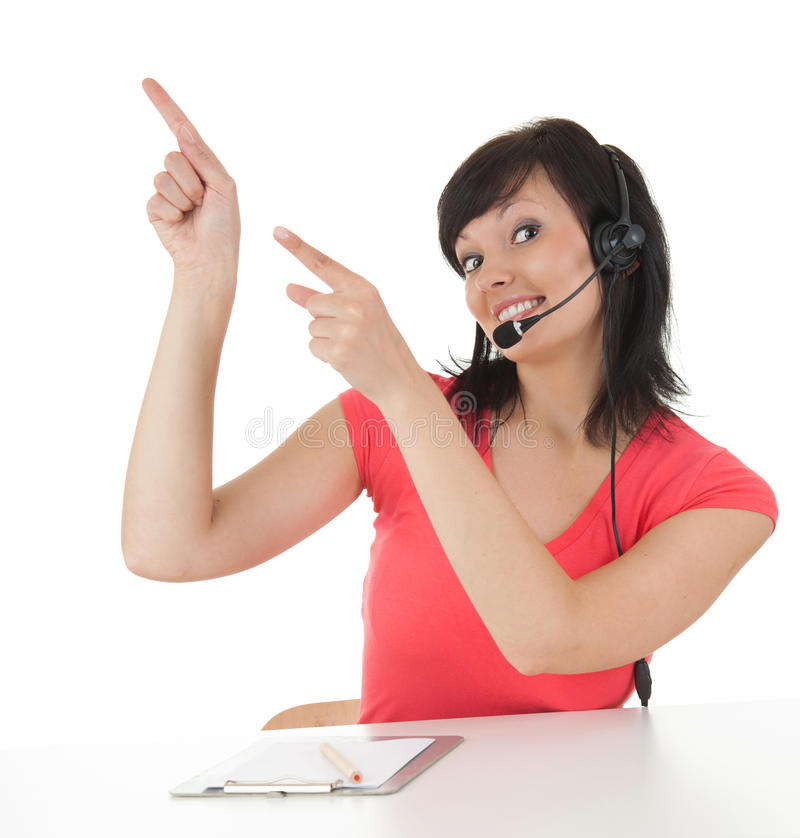 Download Young Woman With Headset Showing Something Stock Image - Image: 25582847