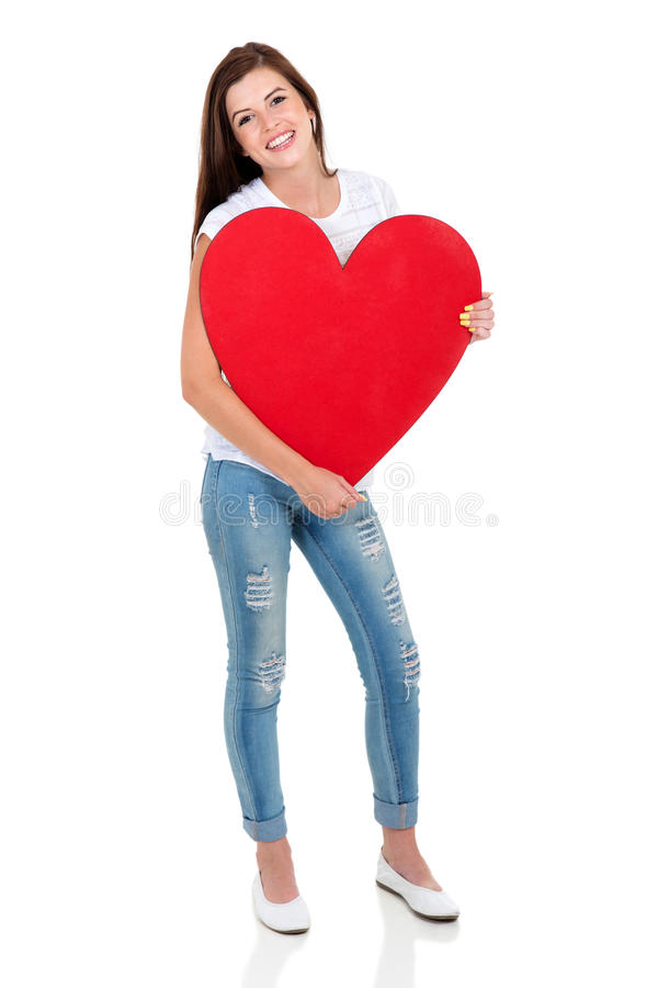 Young woman heart shape stock photography