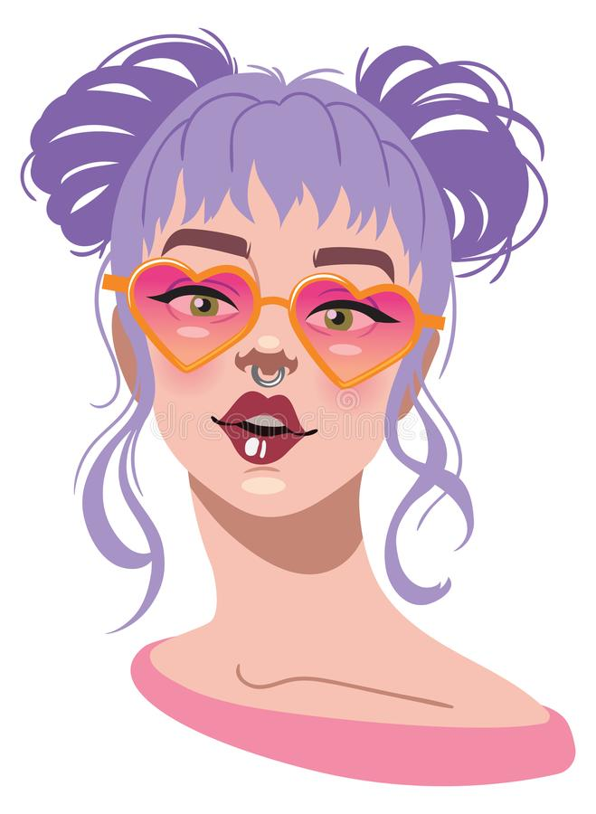 Young woman with heart shaped glasses and purple hair. Trendy purple hair young woman with heart shaped glasses. Cool for t-shirts, cards royalty free illustration