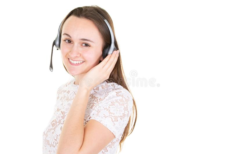 Young woman helpline operator smil portrait in call center royalty free stock photos