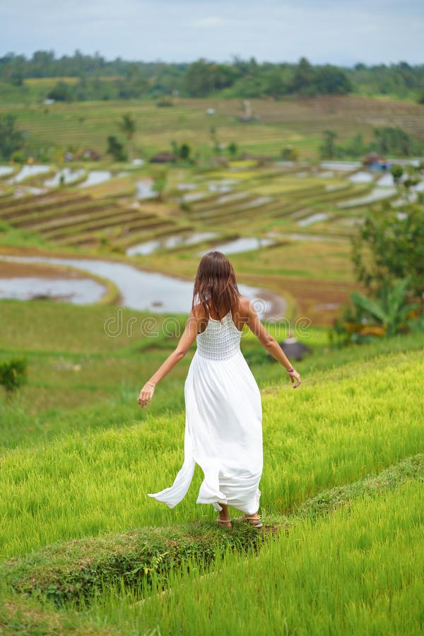 A young woman with her arms outstretched posing standing on a hill. In the background are rice fields royalty free stock photos