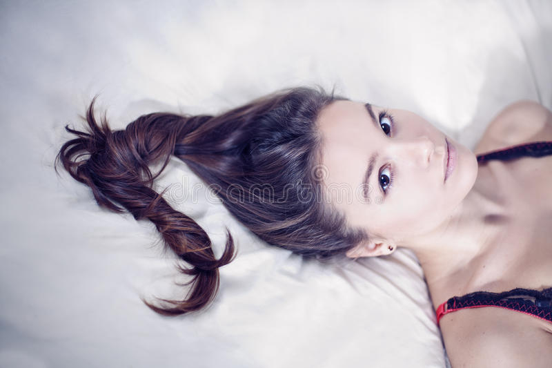 Young woman and her beautiful hair stock photo
