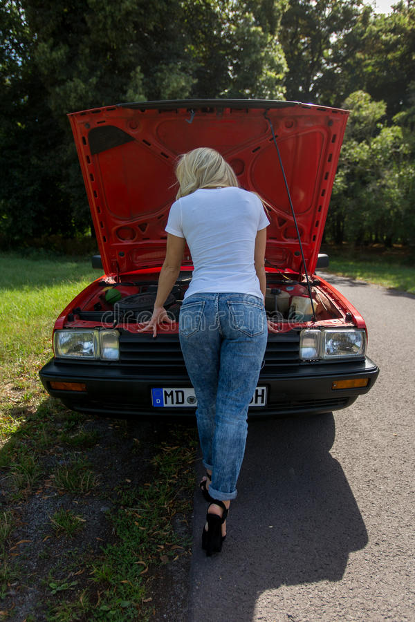 Young Woman in her Car stock images