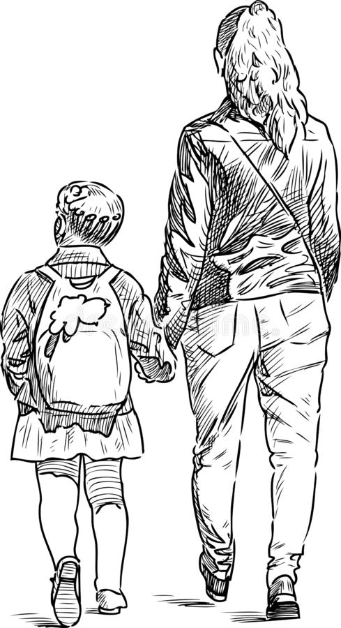 A young woman with her child walking down the street royalty free illustration