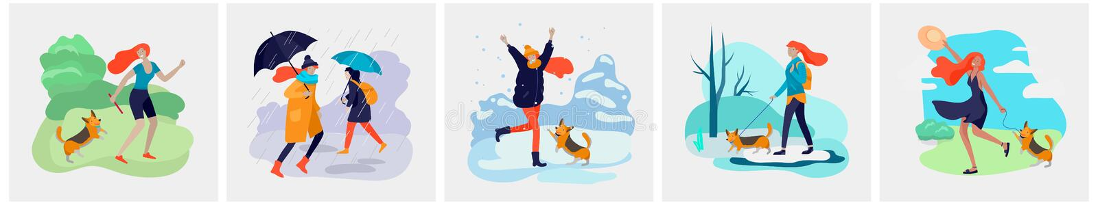 Young woman with her dog in various weather conditions. Girl in seasonal clothes and enjoys walking on street in rain royalty free illustration