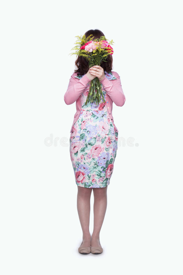 Download Young Woman Hiding Face Behind Bouquet Of Flowers Stock Image - Image of 29, gift: 31691127
