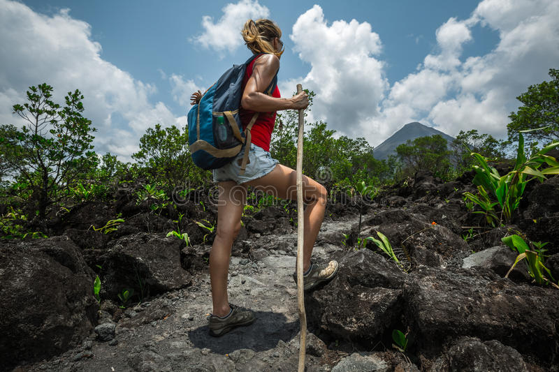 Young woman hiker stock images