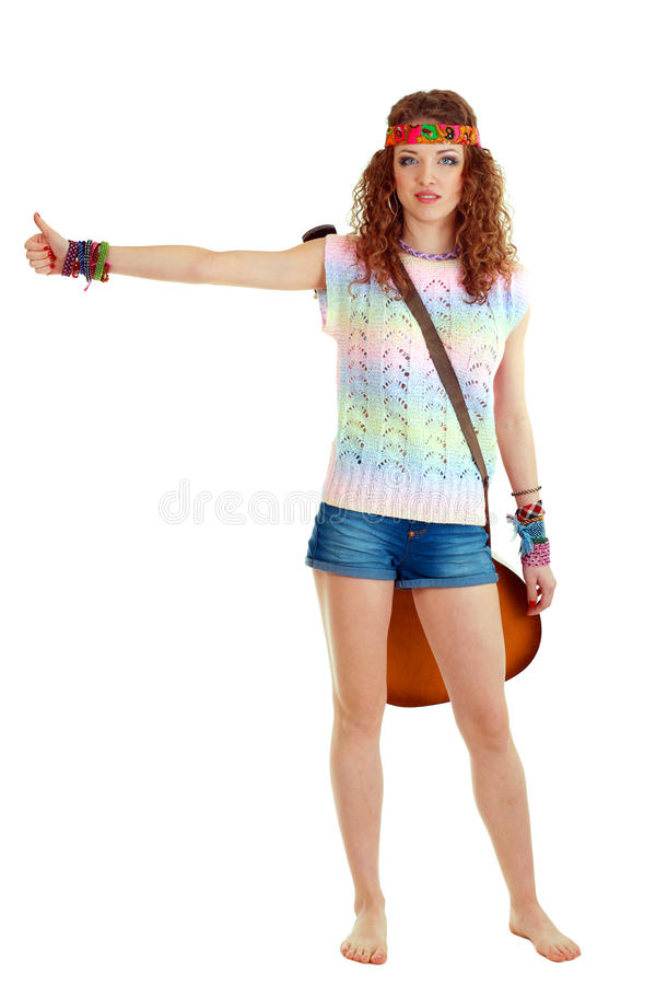 Download Young woman hitch-hiking stock photo. Image of beautiful - 24683266