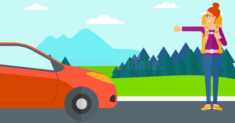 Young woman hitchhiking. A woman hitchhiking trying to stop a car on the background of mountains and trees vector flat design illustration. Horizontal layout vector illustration