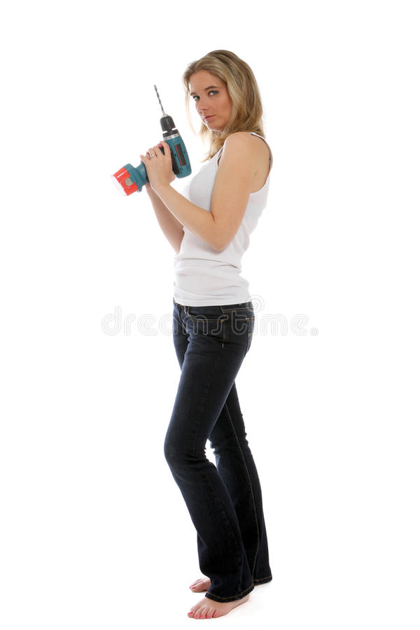 Free Young Woman Holding A Cordless Drill Stock Image - 21779931