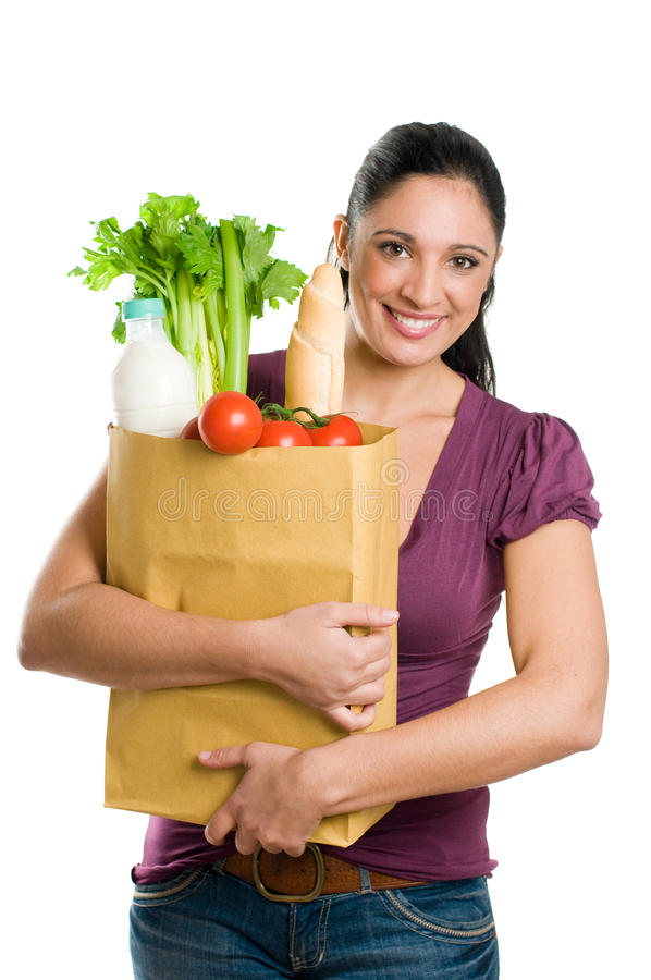 Free Young Woman Holding A Grocery Bag Stock Photo - 11863020