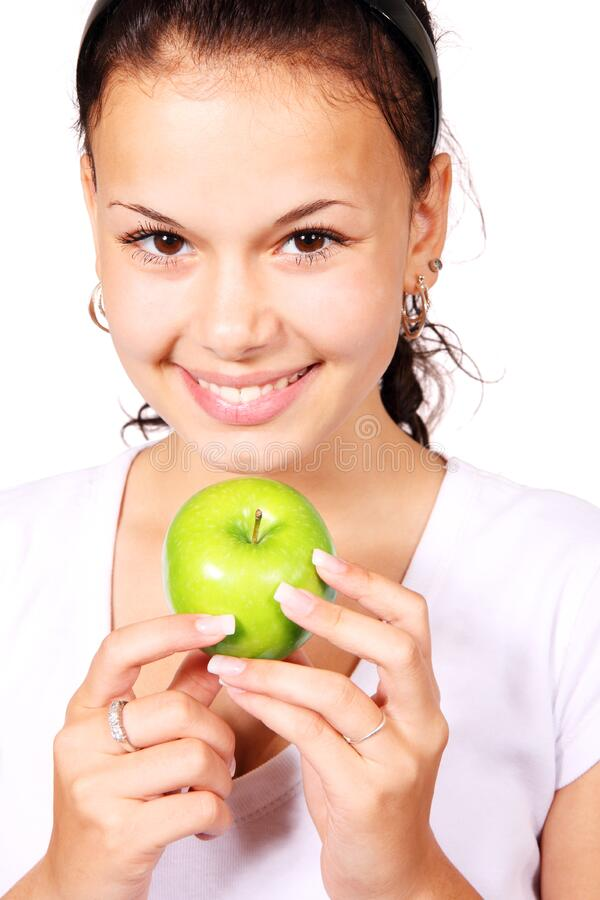 Young Woman Holding Apple Free Public Domain Cc0 Image