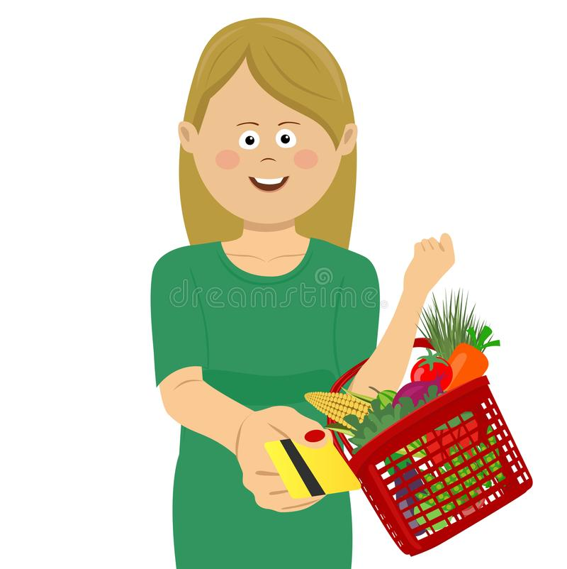 Young woman holding a basket full of vegetables and fruits giving a credit card royalty free illustration