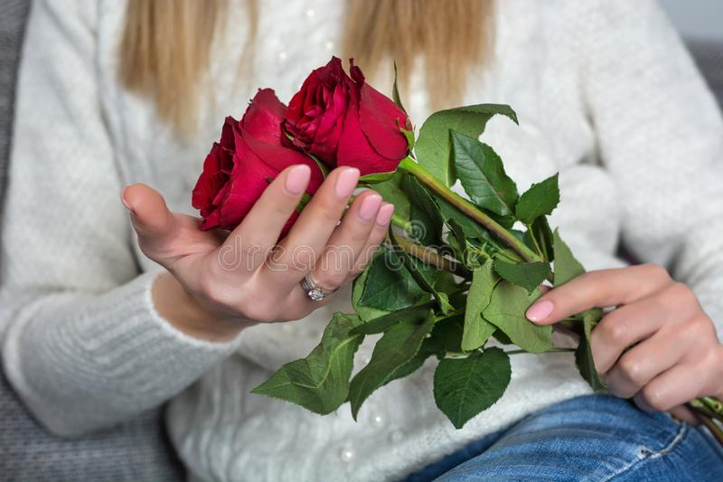 Young woman holding beautiful red rose in hands and sitting in bed at home royalty free stock image