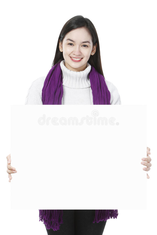 Download Young Woman Holding Blank Message Royalty Free Stock Photos - Image: 28348648