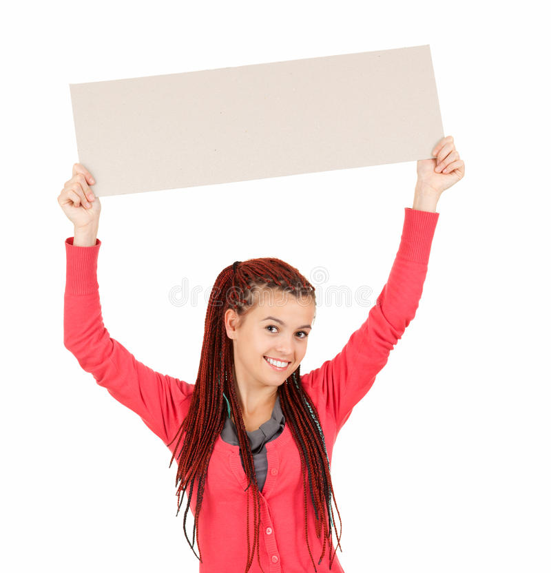 Download Young Woman Holding Blank Sign Royalty Free Stock Images - Image: 26433239
