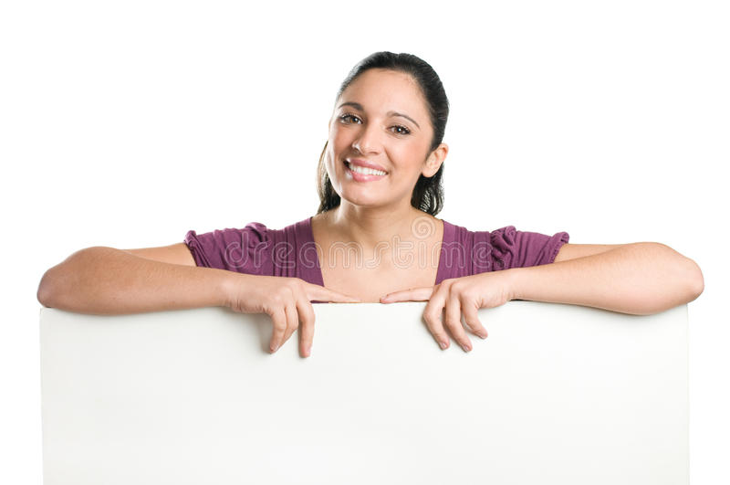 Young woman holding blank signboard stock photos