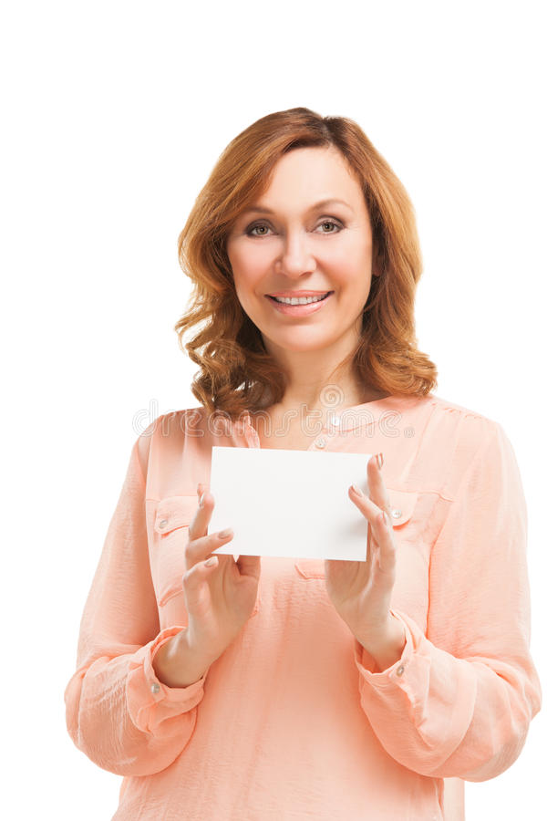 Young woman holding blank signboard. stock images