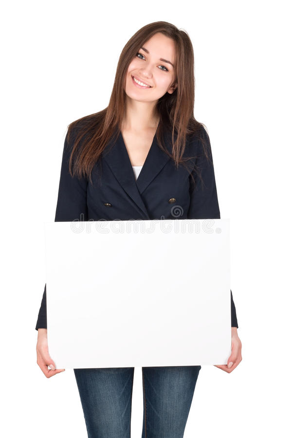 Young woman holding a blank white board stock photos