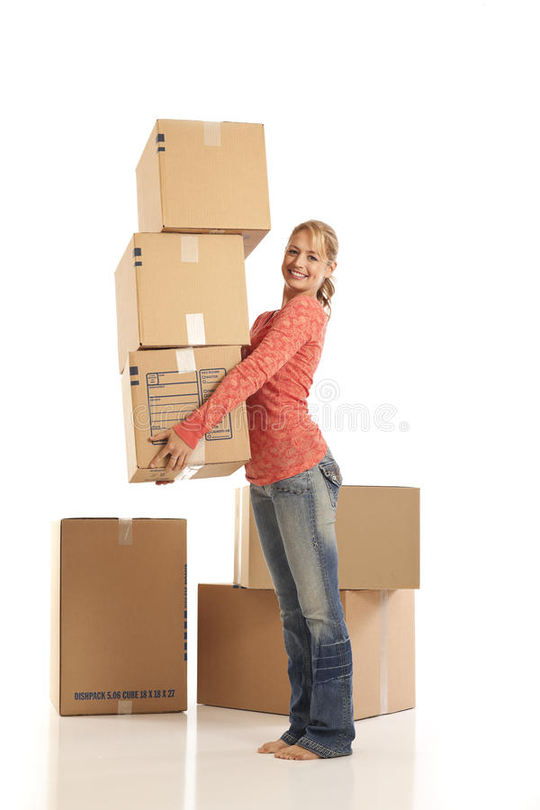 Young woman holding cardboard box