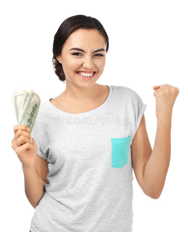 Young woman holding cash stock photography