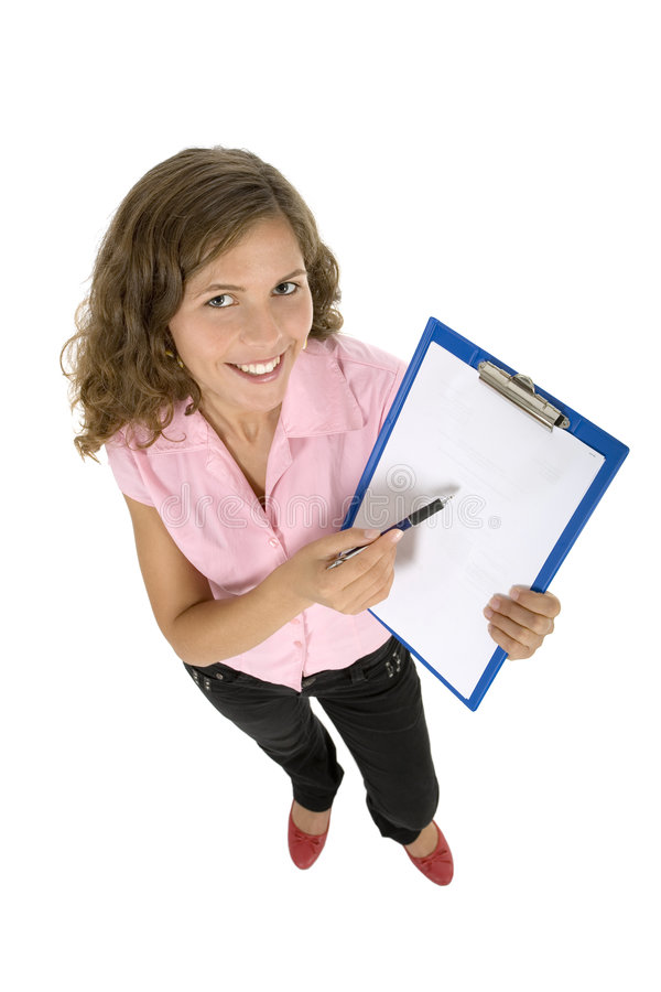 Young woman holding clipboard royalty free stock image