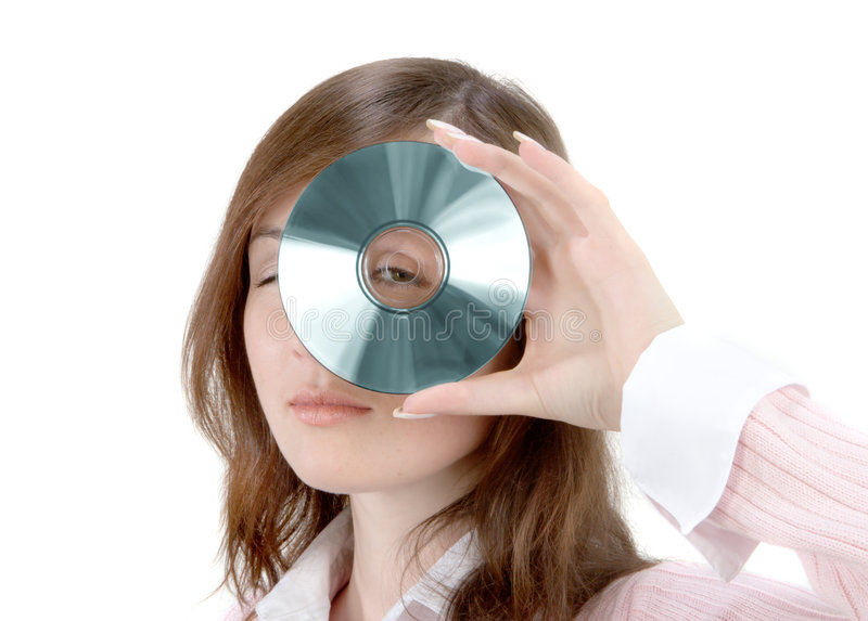 Download Young Woman Holding Compact Disc Stock Photography - Image: 1411512
