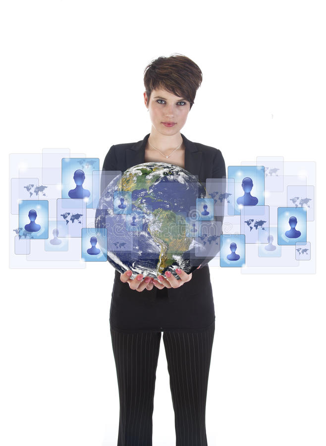 Young woman holding earth with social media symbols stock images