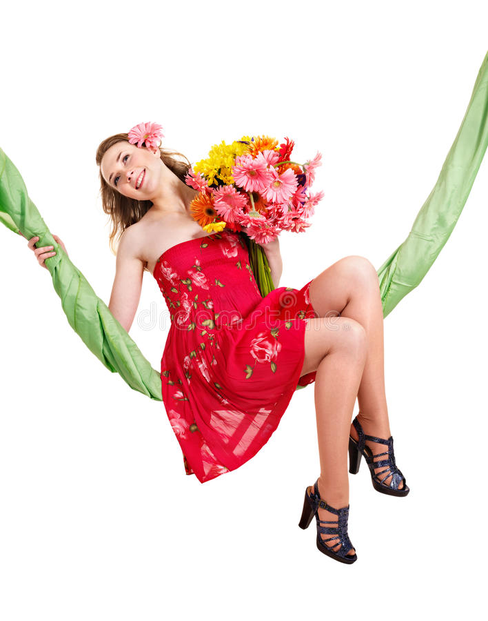 Free Young Woman Holding Flowers On Swing. Stock Photography - 24371962