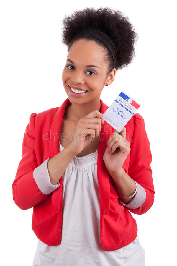 Young woman holding an french electoral card. Isolated on white background stock photo