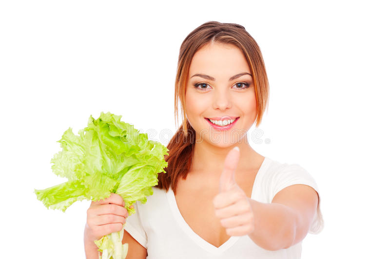 Download Young Woman Holding Green Lettuce Stock Image - Image: 17817163