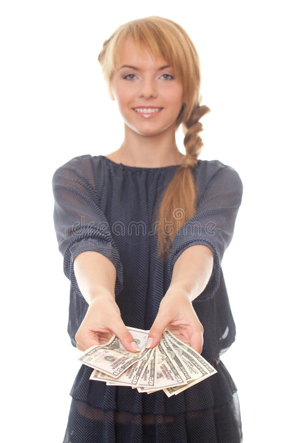 Young Woman Holding In Hand Cash Money Dollars Royalty Free Stock Photos