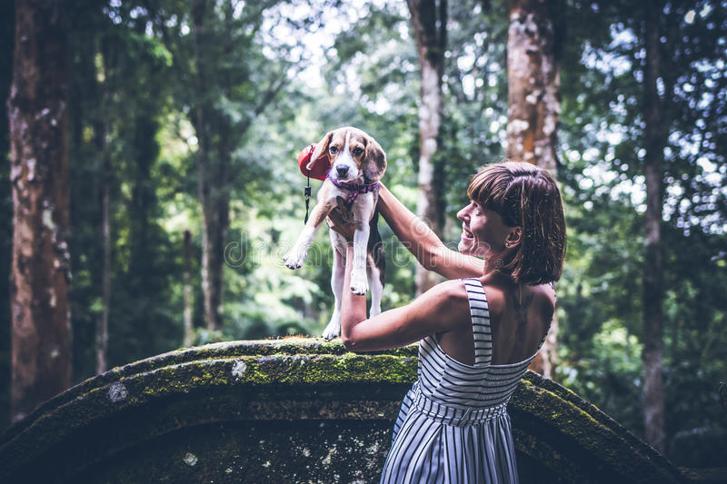 Young woman holding her puppy beagle dog in nature of tropical Bali island, Indonesia. royalty free stock photos