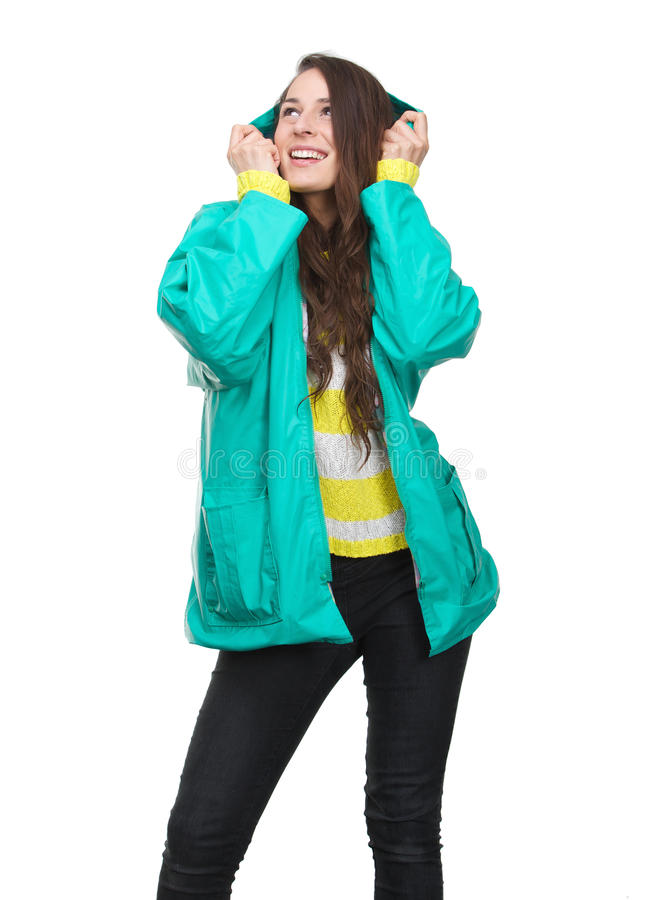 Free Young Woman Holding Hood Of Rain Jacket Royalty Free Stock Photos - 42357038