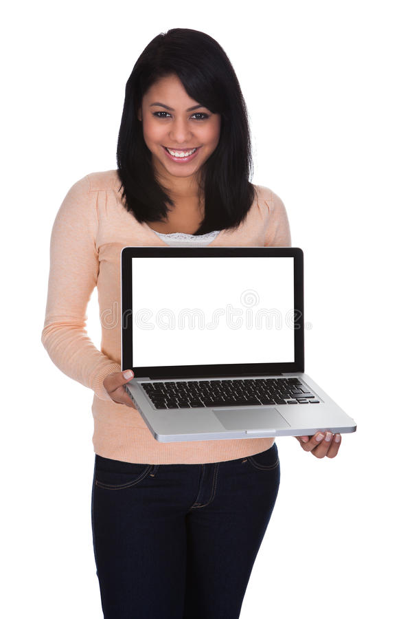 Young Woman Holding Laptop. Over White Background stock photos