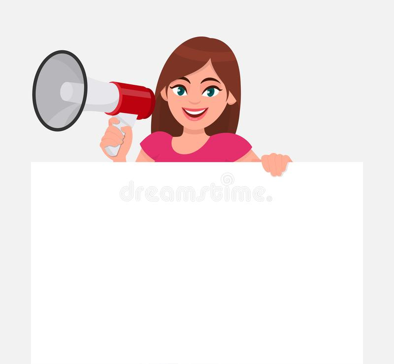 Young woman holding a megaphone or loudspeaker in hand. Girl showing a blank white poster or banner for copy space text. Female character design illustration stock illustration