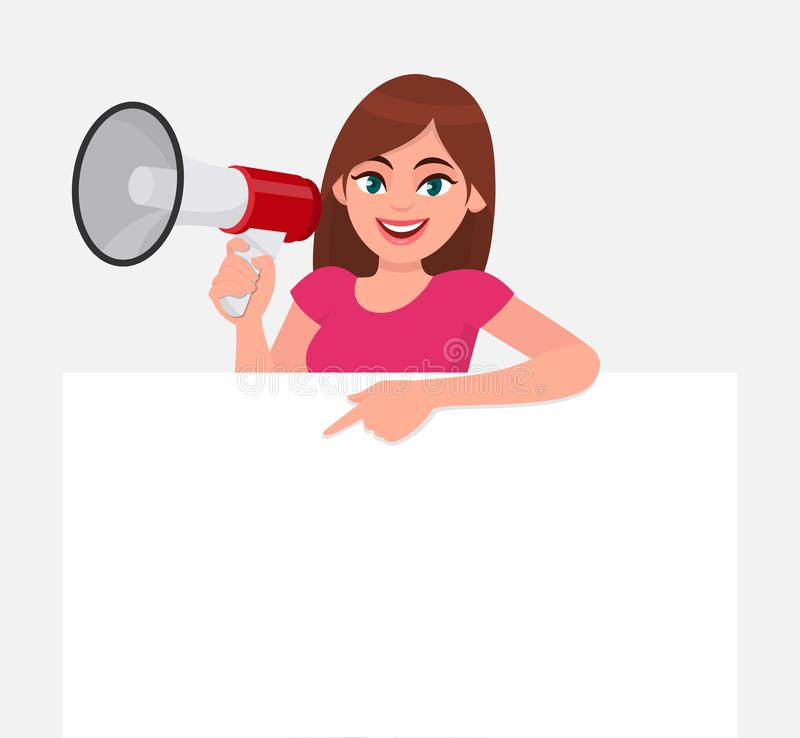 Young woman holding a megaphone or loudspeaker in hand. Girl showing or pointing blank white poster or banner for copy space text. Female character design stock illustration