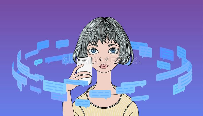 Young woman holding phone in the circle of text messages and speech bubbles. Information flow. Line vector illustration. Young woman holding phone in the circle stock illustration