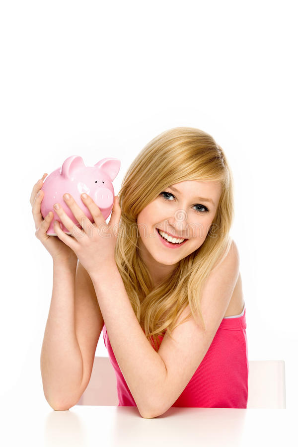Young Woman Holding Piggy Bank Stock Images