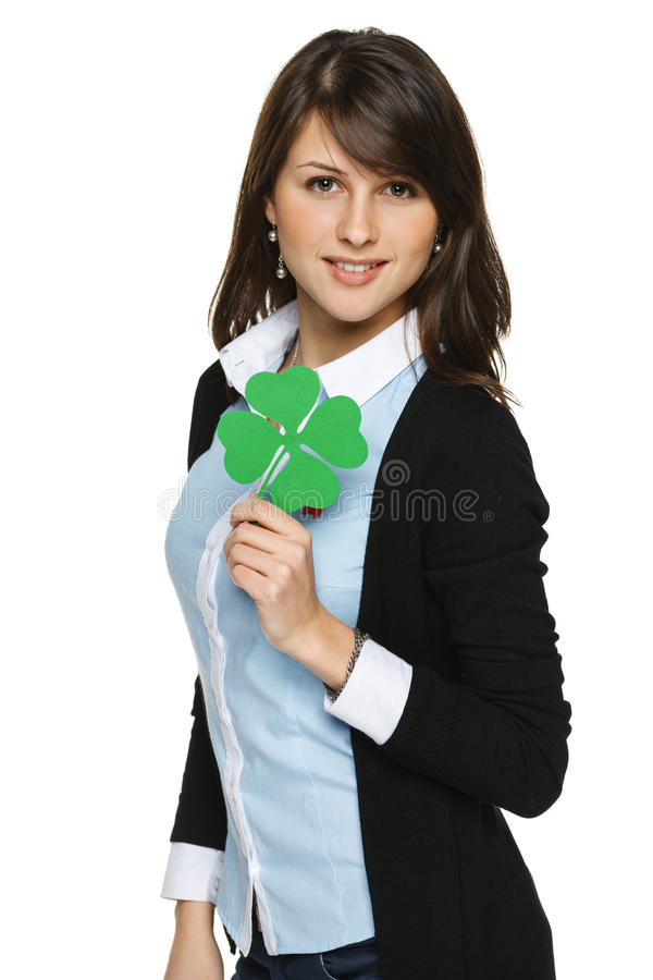 Woman holding shamrock leaf stock photos