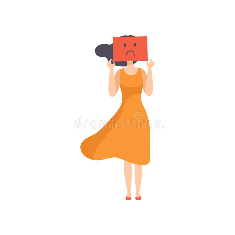 Young woman holding a sheet of paper with a sad face, emotional burnout concept, stress, headache, depression vector illustration