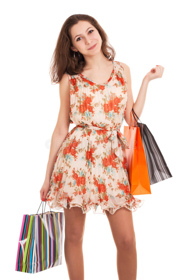 Download Young Woman Holding Shopping Bags Stock Photo - Image: 28889136