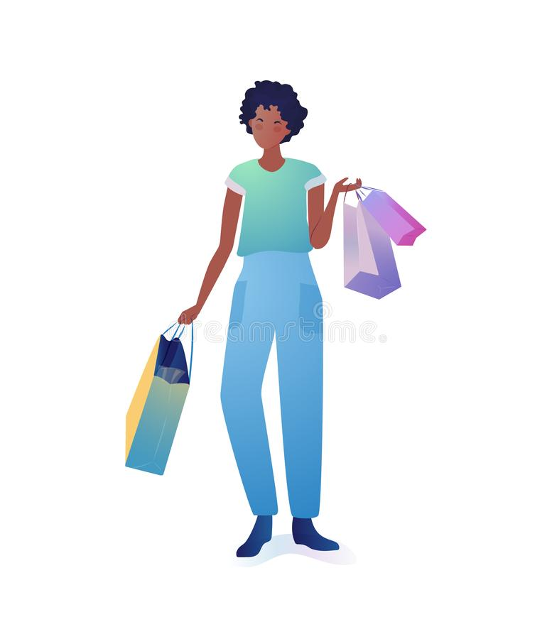 Young woman holding shopping bags. stock illustration