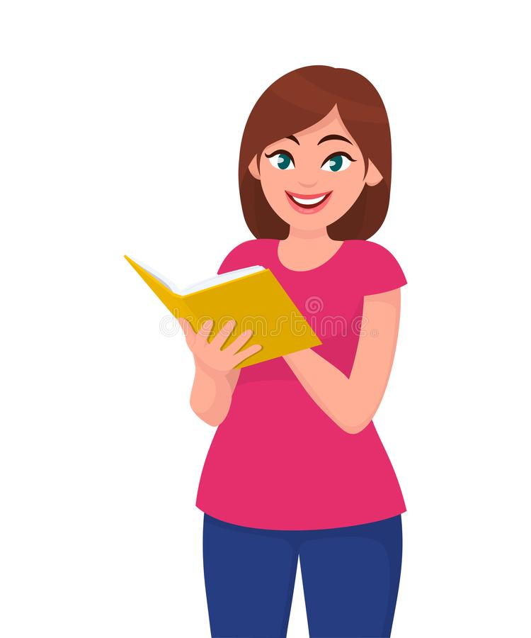 Young woman holding/showing/reading a book. Education and reading concept illustration in vector cartoon. stock illustration