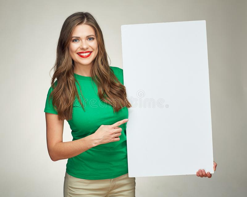 Young woman holding sign business board. stock photos